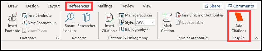 Office 365 – Easy Bib Add-in